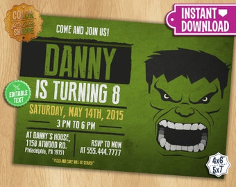 The Hulk Invitation - EDITABLE TEXT - Customizable Superhero Printable Birthday Party Invite Incredible Hulk Superheroes - Instant Download