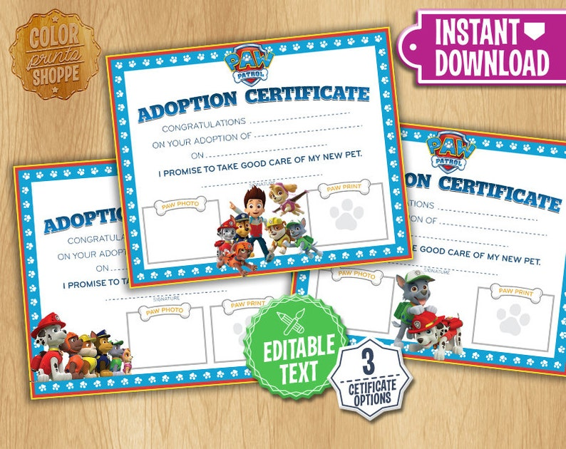 Paw Patrol Adoption Certificate Instant Download Custom Etsy