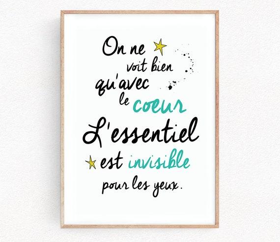 Der Kleine Prinz Zitat Le Petit Prince Französisch Poster Kinder Zimmer Kindergarten Zitat Kunstdruck Wand Dekor Home Geschenk Home Decor Inspirierend