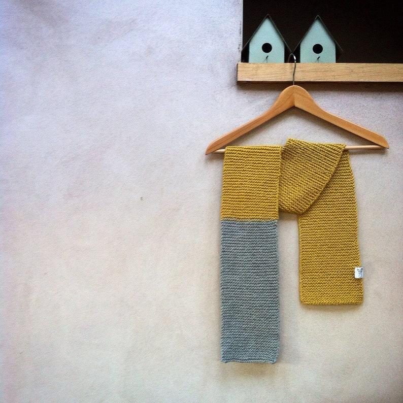 Totally Vanilla Absolute Beginner Scarf Knitting Kit Deep Yellow & Grey