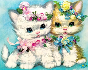 Instant Digital Download - Two Fluffy Kittens With Flowers - Vintage Greeting Card 1960s Kawaii Vintage Image Collage JPG