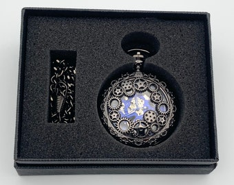 Hand Wind Pocket Watch ~ Black with Blue Numbering