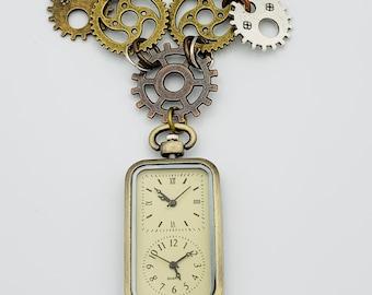Steampunk Traveller's Clock Necklace