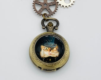 Steampunk Cat Pocket Watch Necklace