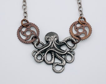 Octopus with Gears Necklace