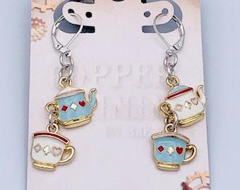 Alice in Wonderland Mad Tea Party Tea Pot & Tea Cup Earrings