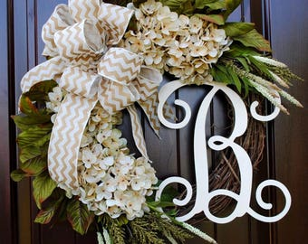 Cream Hydrangea Wreath With Monogram Letter Round Front Door Wreath Customized  Decor Personalized Gift~Spring And Summer Door Decor Gift