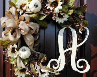 Fall Thanksgiving Front Door Wreath Decor with Monogram Letter, Cream Pumpkins, Sunflowers, and Mixed Berry Sprays--Burlap Bow Option