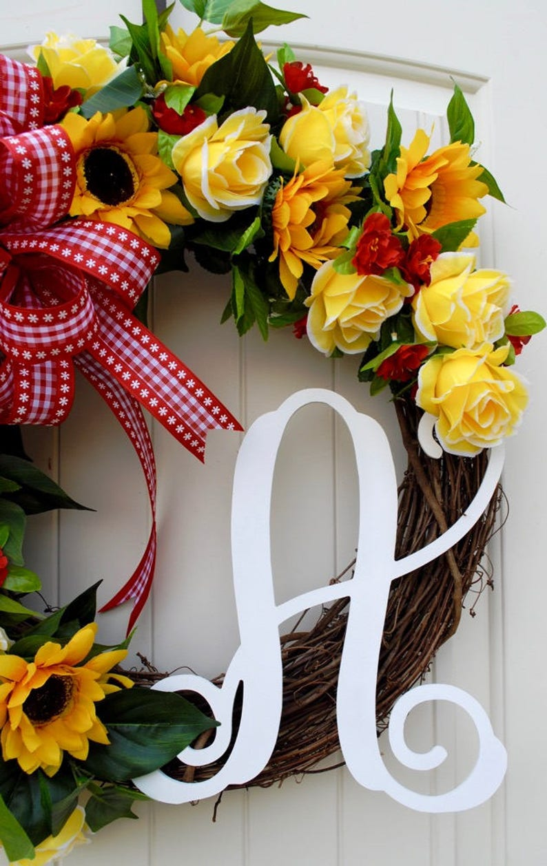 Summer Wreath Yellow Wreath Sunflower Wreath Fall Wreath Farmhouse Wreath Monogram