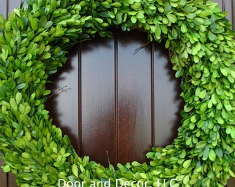 """Large Preserved Boxwood 24"""" Wreath~Natural~Holiday Wreath~Spring Wreath~Fixer Upper~Wedding Centerpiece~Rustic~Farmhouse"""