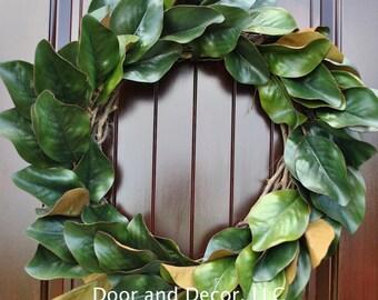 Magnolia Wreath~Magnolia Leaf Wreath~Front Door Wreath~Multiple Sizes~Farmhouse Decor~Rustic~Country Chic