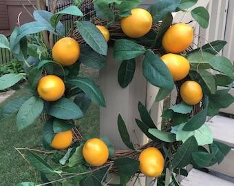 Lemon Wreath with Green Leaves~Spring Wreath~kitchen wreath~Window Wreath~Mirror Wreath~fruit wreath~citrus wreath~kitchen decor~lemons