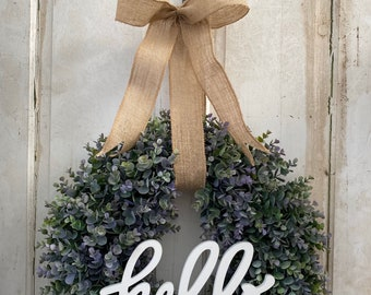 Boxwood wreath~Artificial boxwood wreath~Hello~outdoor wreath~everyday wreath~year around wreath~foam base