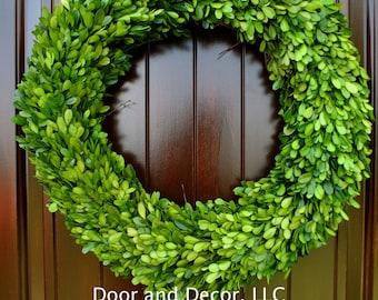 "Preserved Boxwood 16"" Wreath~Boxwood Wreath~spring wreath~front door wreath~natural boxwood~rustic decor~farmhouse wreath~wedding decor"