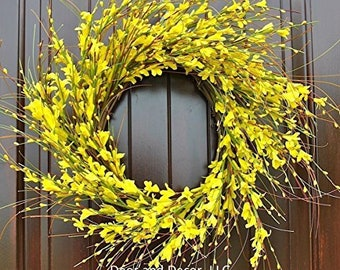 Yellow Forsythia Wreath in 20-22 Inch Diameter for Front Door--Mother's Day, Easter, Spring