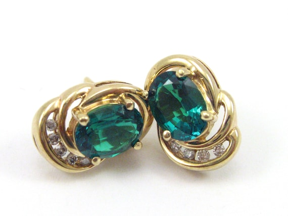 Vintage 10K Yellow Gold Emerald And Diamond Earrin