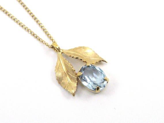 Vintage 14K Yellow Gold Aquamarine Necklace/Pendan