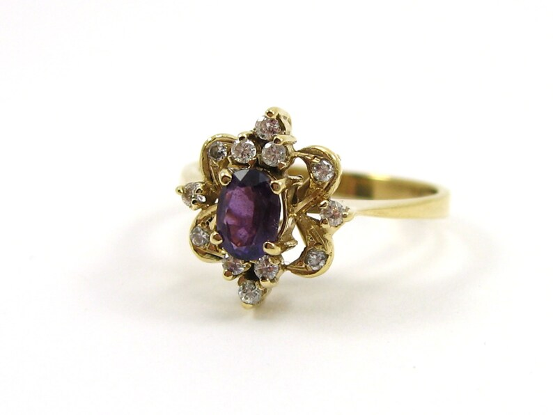 d8d6ab7a4bc0 Vintage 14K Yellow Gold Amethyst And Diamond Ring Ornate