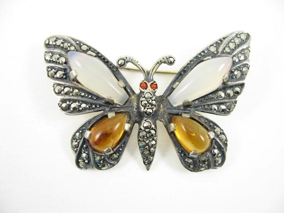 vintage sterling marcasite moonstone brooch