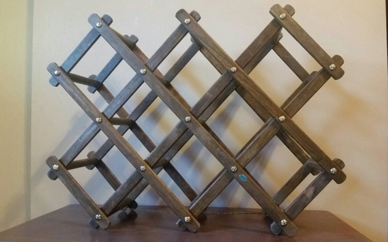 Vintage Wooden Wine Rack Vintage Accordion Wine Rack Collapsible Wine Rack Expandable Wine Rack Vintage Expanding Wine Rack Wine Rack