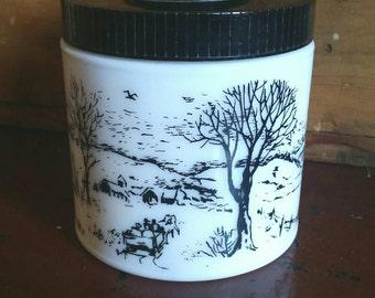 Vintage Milk Glass Humidor/ Glass Humidor/ Vintage Milk Glass/ Country Decor/ Vintage Glass Jar/ Vintage Storage/ Vintage Kitchen Decor