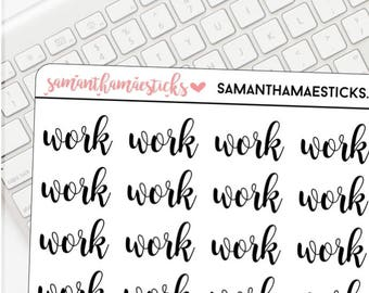 Work Lettering for use with Erin Condren Lifeplanner™ Happy Planner Stickers