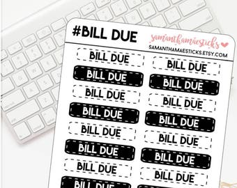Bill Due for use with Erin Condren Lifeplanner™ Happy Planner Stickers