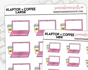 Laptop + Coffee for use with Erin Condren Lifeplanner™ Happy Planner Stickers