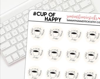 A Cup Of Happy Doodle for use with Erin Condren Lifeplanner™ Happy Planner Stickers