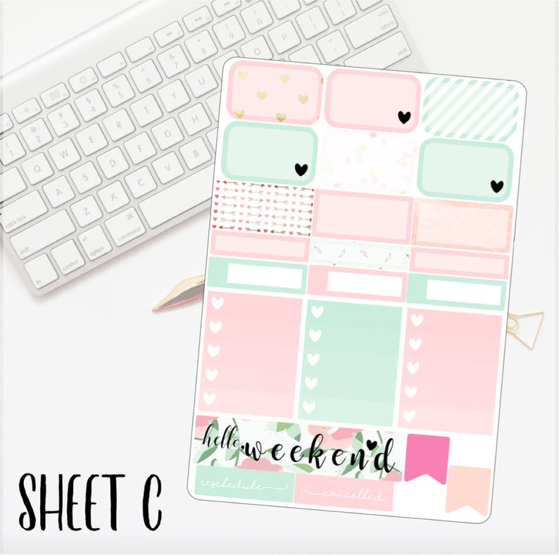 MINIPERSONAL Love Struck Kit Erin Condren Lifeplanner\u2122 Weekly Kit Planner Stickers