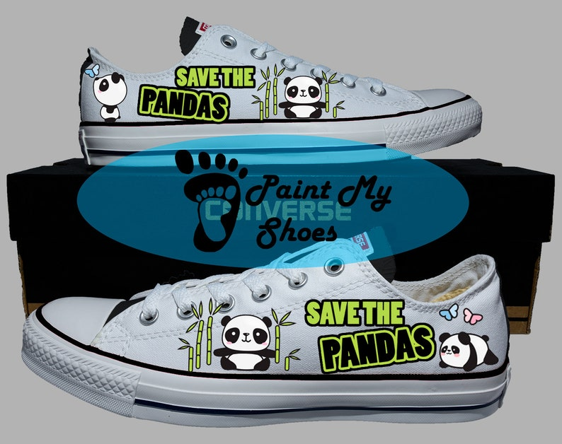 45c0a2267a Save the Pandas converse, Hand Painted Shoes, Custom Art Panda Shoes,  Custom Converse, Birthday Gifts, Free US Shipping