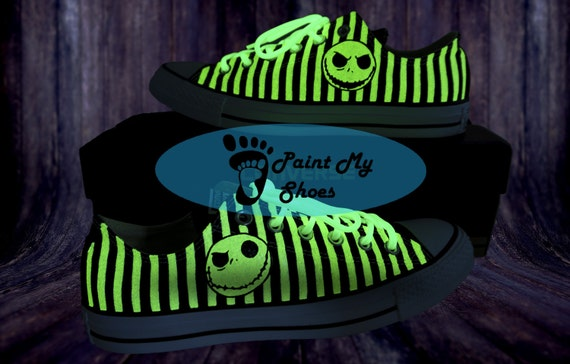 7aeed15bc9 Skeleton shoes, Custom shoes, converse, hand painted shoes, Glow in the  dark, free shipping in the US