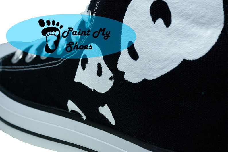8bd711e7f2c9 Panda converse Hand Painted Shoes Giant Panda Shoes Custom