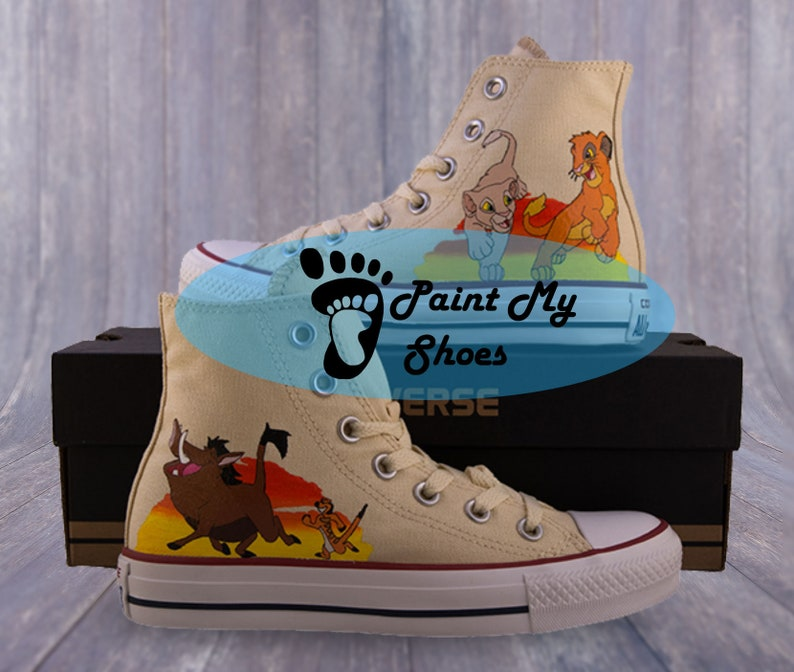 Lion shoes, converse, Hand painted shoes, movie shoes, free shipping in the US, V3