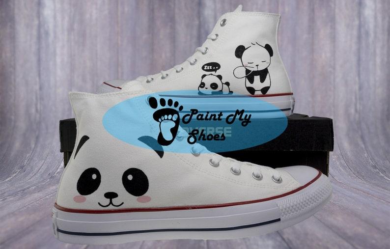 aca92c3ea816 Panda converse Hand Painted Shoes Custom Art Panda Shoes