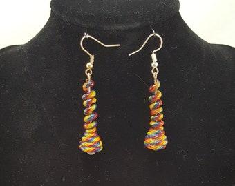 """Rainbow Swirl """"Unicorn Poop"""" Dangle Earrings"""