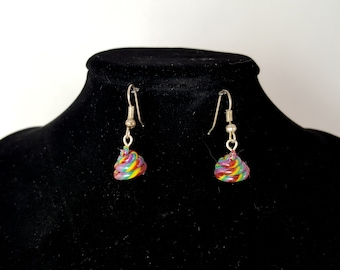 "Rainbow Swirl ""Unicorn Poop"" Earrings"