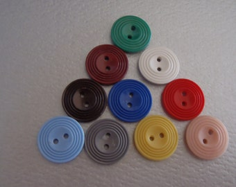set of 9 off white or cream plain flat two eye 2 eye sewing buttons 16mm