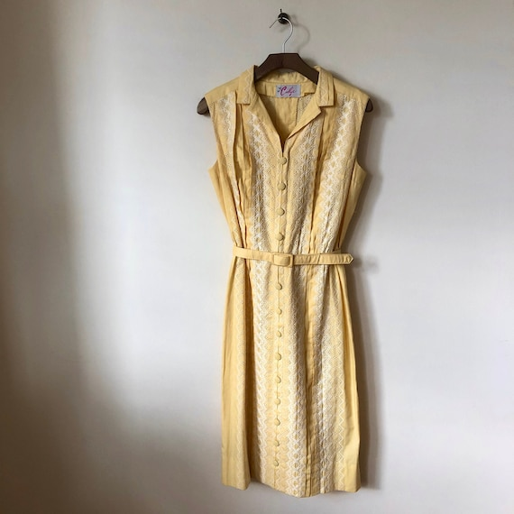 1960s yellow embroidered pleated shirt dress
