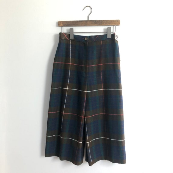 1960s Bobbie Brooks faux wool navy / brown plaid r