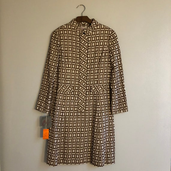 1970s Carlye mod brown and white square pattern mo