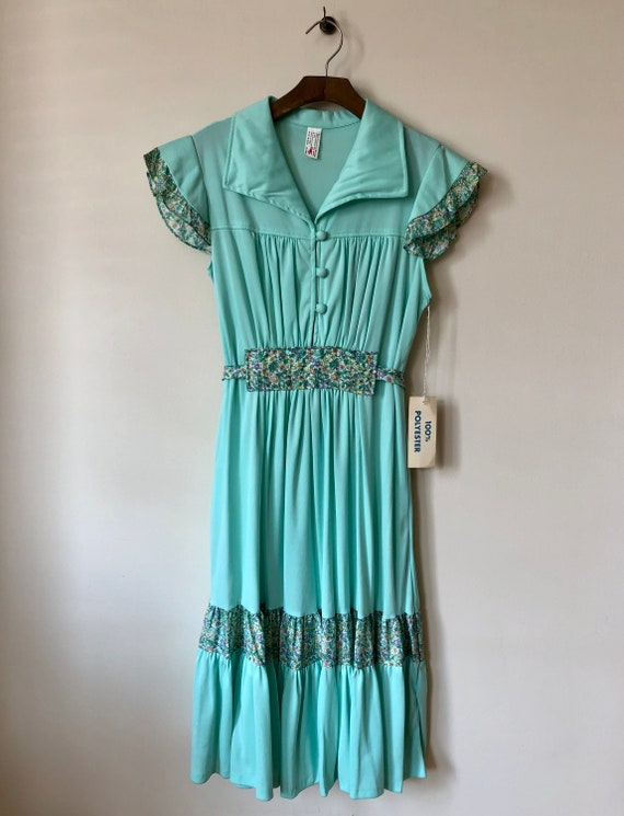1970s seafoam green flutter sleeve dress with flor