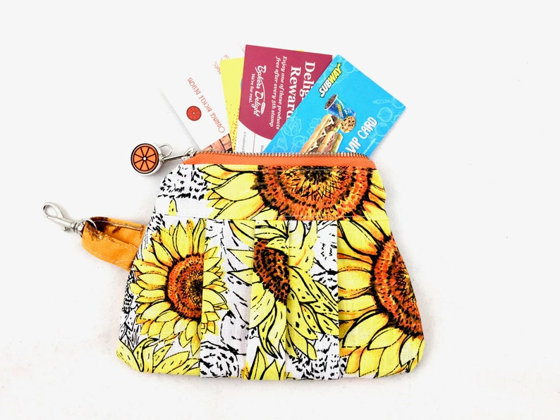 FREE SHIPPING. Pleated Zipper Purse Pouch with Inside Pockets Gold Tree and Sunflower Print