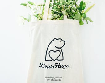 BearHugs Canvas Tote Bag - Bear Hugs - BearHugs Gifts - Cute Polar Bear, Heart, Cotton Re-usable Eco Bag