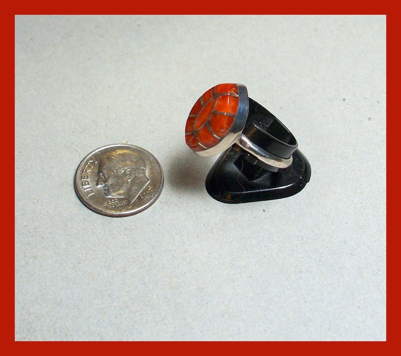 ZUNI RED CORAL Ring Mosaic Old Pawn Vintage Sterling Silver \u2013 Size 7 12