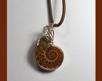 SPLIT AMMONITE PENDANT -- Sterling Silver Wire-Wrapped Pendant -- Made In Made