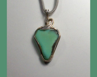 VARISCITE PENDANT - Wire Wrapped Sterling Silver Pendant - Made In Maine