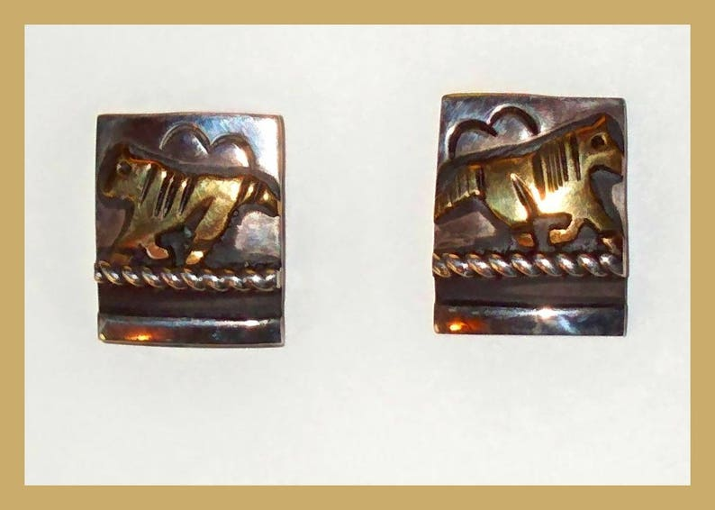 Vintage \u2013 New Old Stock TOMMY SINGER \u201cWild Horses\u201d 14-Karat Yellow Gold and Sterling Silver Dangle Earrings