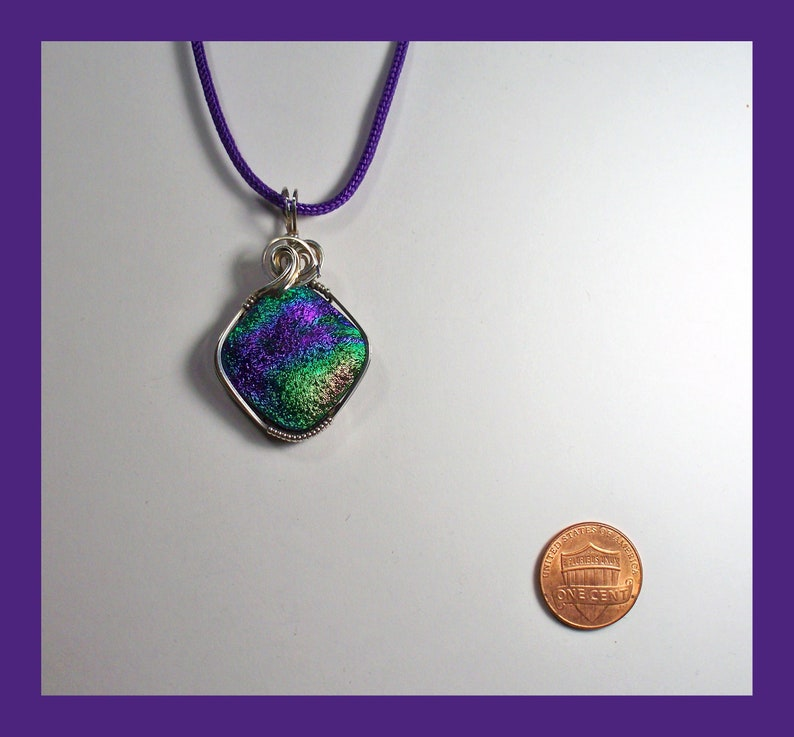 Made In Maine DICHROIC GLASS PENDANT Rainbow Satin High Gloss Finish Sterling Silver Wire Wrap