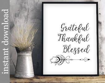 Grateful Thankful Blessed, Printable Wall Art, dining room art, home decor art, Thanksgiving art, minimalist wall art, religious printable,